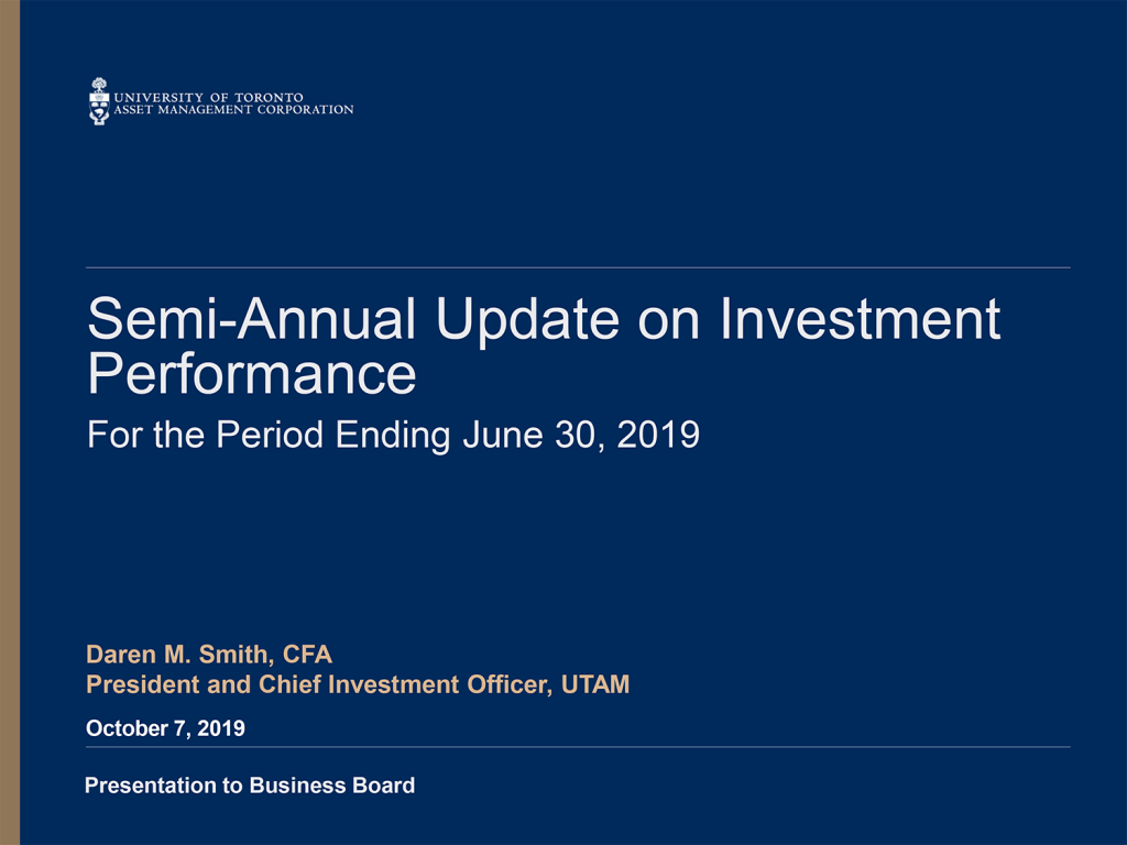 Cover of UTAM Semi annual Update on Investment Performance to June 30, 2019