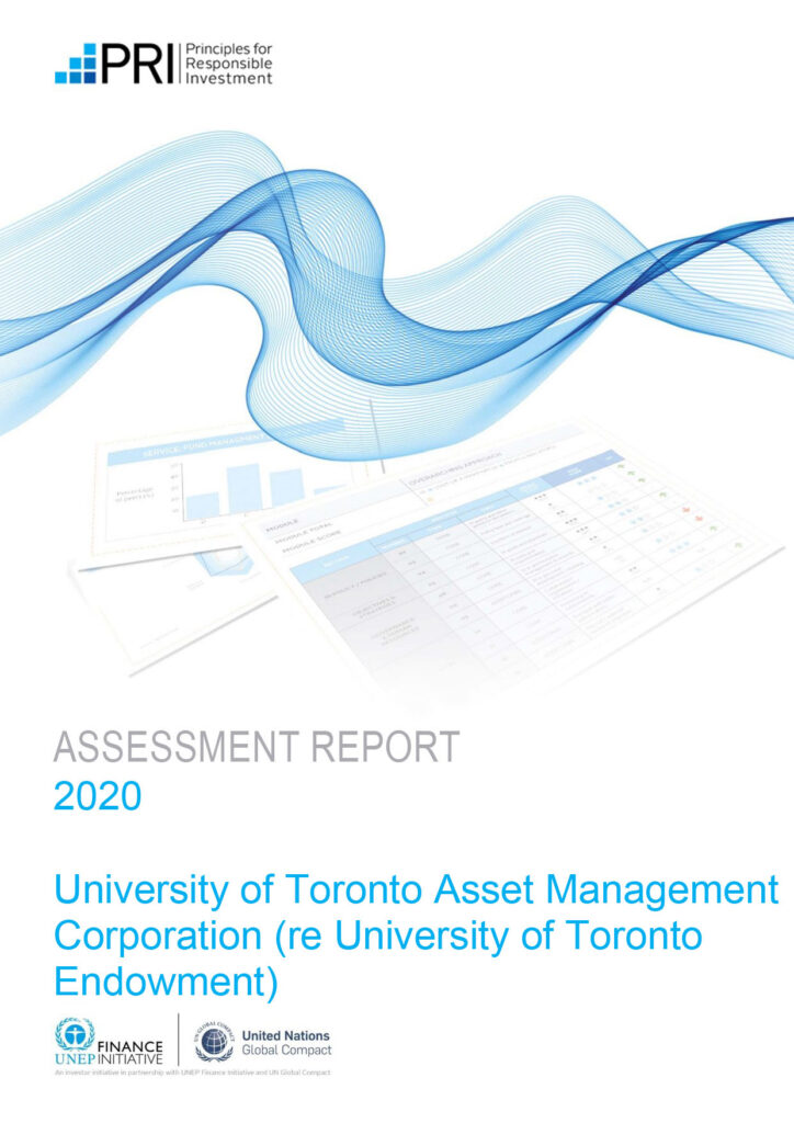 Cover of 2020 Assessment Report for UTAM (re UT Endowment)