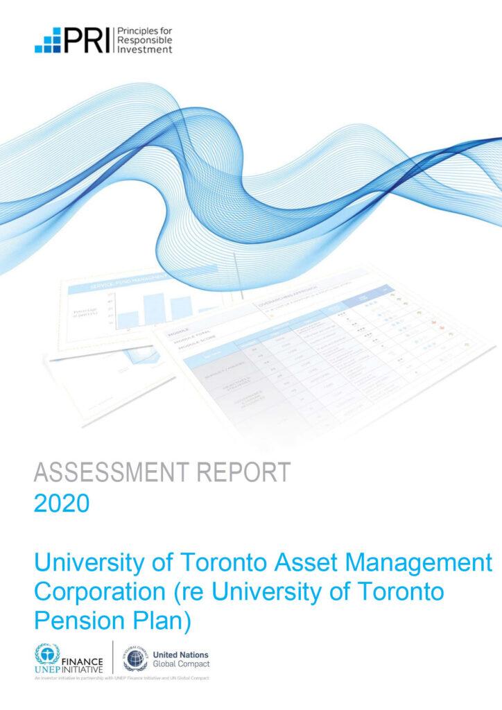 Cover of 2020 Assessment Report for UTAM (re UT Pension)