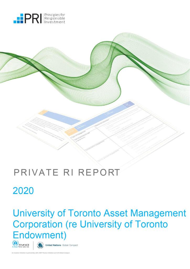 Cover of 2020 Transparency Report for UTAM (re UT Endowment)