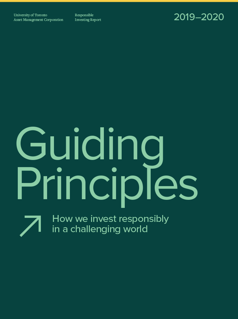 Cover of 2019-2020 Responsible Investing Report.